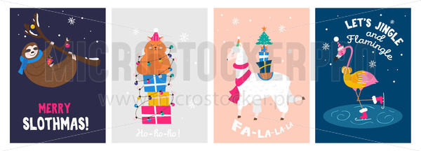 Christmas cute greeting cards with happy animals set - Vector illustrations for everyone | Microstocker.Pro