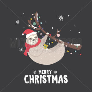 Christmas greeting card with happy cute sloth - Vector illustrations for everyone | Microstocker.Pro