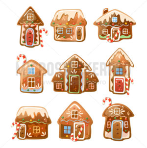 Christmas houses made of gingerbread cookies - Vector illustrations for everyone | Microstocker.Pro
