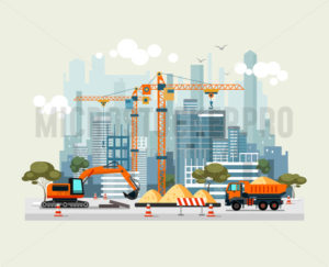 City construction work process with machines - Vector illustrations for everyone | Microstocker.Pro