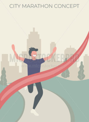 City marathon poster invitation with running man - Vector illustrations for everyone | Microstocker.Pro