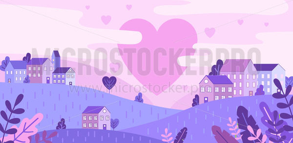 City of love and pink hearts flying in sky - Vector illustrations for everyone | Microstocker.Pro