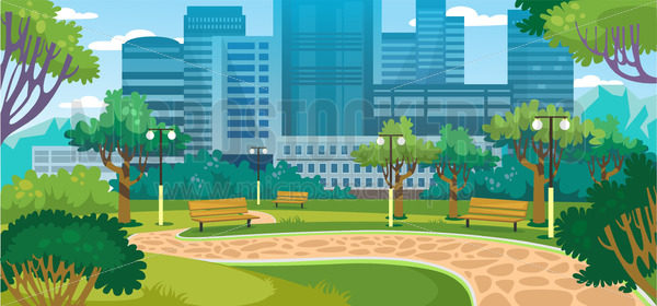 City summer park with green trees and benches - Vector illustrations for everyone | Microstocker.Pro