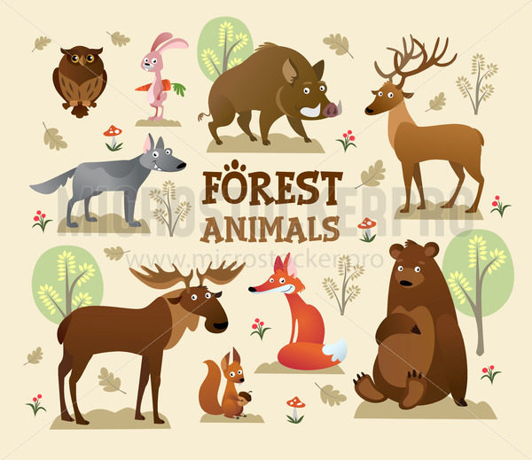 Collection of forest and wild animals with decor - Vector illustrations for everyone | Microstocker.Pro