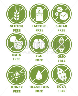 Collection of ingredient warning label icons - Vector illustrations for everyone   Microstocker.Pro