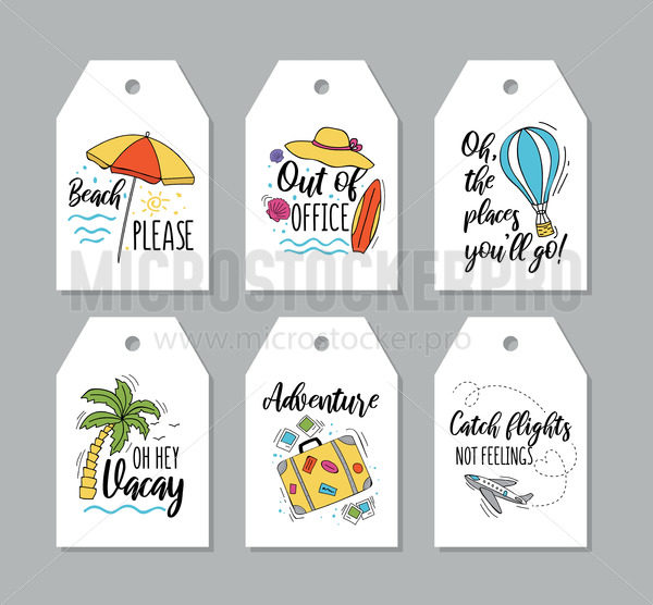 Collection of travel tags with inscriptions - Vector illustrations for everyone   Microstocker.Pro