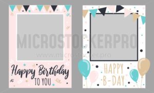 Collection of two happy birthday to you frames - Vector illustrations for everyone | Microstocker.Pro