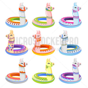 Colourful alpaca inflatable floats summer set - Vector illustrations for everyone | Microstocker.Pro