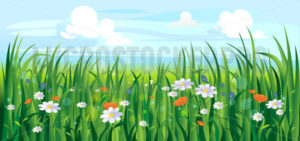 Colourful summer or spring landscape with flowers - Vector illustrations for everyone | Microstocker.Pro