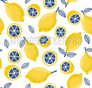 Colourful summer pattern with fresh lemons - Vector illustrations for everyone   Microstocker.Pro
