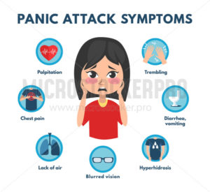 Common panic attack symptoms of disorder - Vector illustrations for everyone | Microstocker.Pro