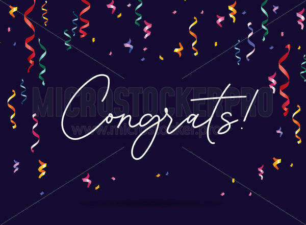 Congratulation banner with confetti on dark background - Vector illustrations for everyone | Microstocker.Pro