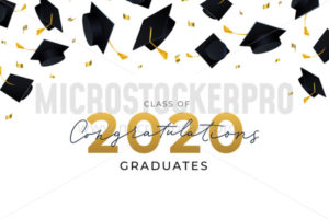 Congratulations graduates hats flying in air - Vector illustrations for everyone | Microstocker.Pro