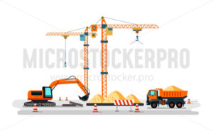 Construction heavy machines on building site - Vector illustrations for everyone | Microstocker.Pro