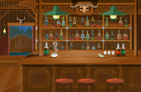 Cowboy interior wild west atmosphere wooden bar - Vector illustrations for everyone   Microstocker.Pro