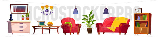 Cozy cartoon living room furniture on white background - Vector illustrations for everyone | Microstocker.Pro