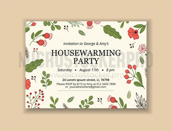 Creative template with invitation text and blossom design - Vector illustrations for everyone | Microstocker.Pro