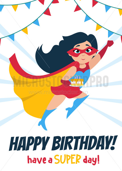 Cute Happy Birthday greeting card with girl - Vector illustrations for everyone | Microstocker.Pro
