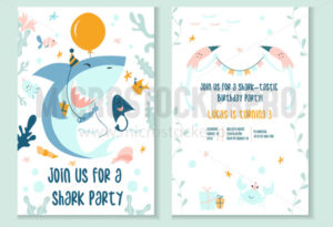 Cute baby shark party invitation template - Vector illustrations for everyone | Microstocker.Pro