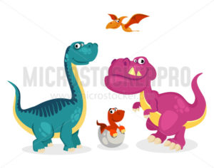 Cute colourful kind dinosaurs in cartoon style set - Vector illustrations for everyone | Microstocker.Pro