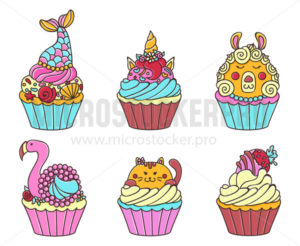 Cute cupcakes with pretty sweet animals set - Vector illustrations for everyone | Microstocker.Pro