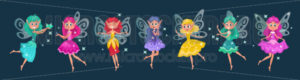 Cute fairies dressed in colourful dresses - Vector illustrations for everyone | Microstocker.Pro