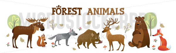Cute forest animals collection with inscription - Vector illustrations for everyone | Microstocker.Pro
