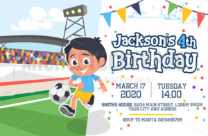 Cute happy birthday party invitation card - Vector illustrations for everyone | Microstocker.Pro