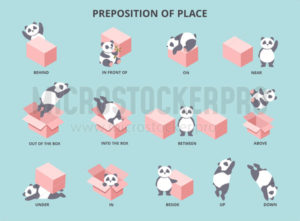 Cute panda with prepositions of place set - Vector illustrations for everyone | Microstocker.Pro