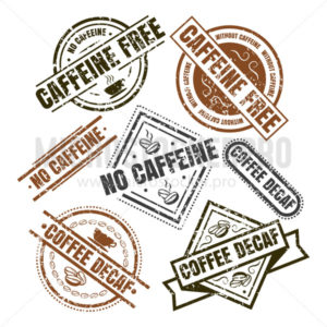 Decaffeinated labels in black and brown colors set - Vector illustrations for everyone | Microstocker.Pro