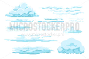 Different types of pixel clouds in sky set - Vector illustrations for everyone | Microstocker.Pro