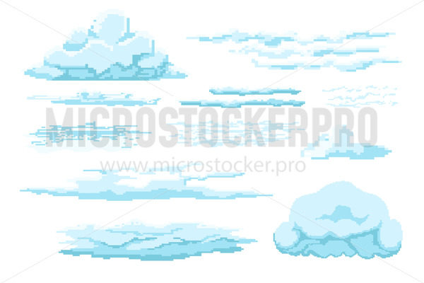 Different types of pixel clouds in sky set - Vector illustrations for everyone   Microstocker.Pro