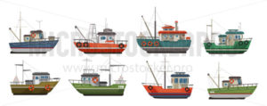 Different types of sea boats flat style set - Vector illustrations for everyone | Microstocker.Pro