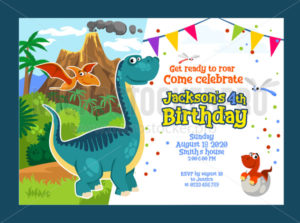 Dino birthday party invitation with dinosaurs - Vector illustrations for everyone | Microstocker.Pro