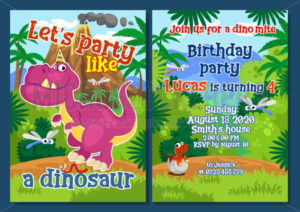 Dino party invitation template with decorations - Vector illustrations for everyone | Microstocker.Pro