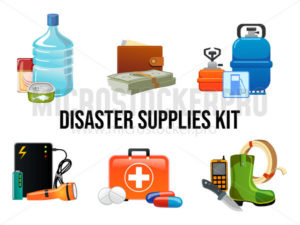Disaster supplies kit set in cartoon style - Vector illustrations for everyone | Microstocker.Pro