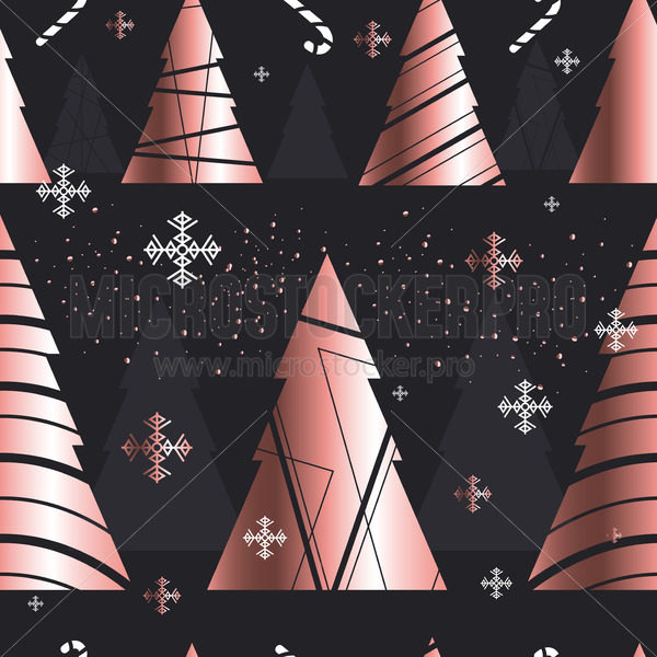 Elegant christmas new year seamless pattern - Vector illustrations for everyone | Microstocker.Pro