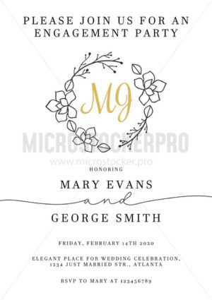 Elegant wedding invitation design template - Vector illustrations for everyone | Microstocker.Pro