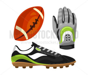 Essential football equipment glove cleat ball - Vector illustrations for everyone | Microstocker.Pro