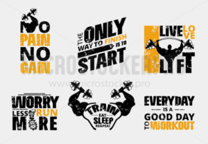 Everyday no pain no gain workout poster set - Vector illustrations for everyone | Microstocker.Pro
