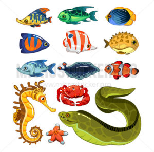 Exotic fishes characters in cartoon style set - Vector illustrations for everyone | Microstocker.Pro