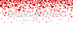 Falling red hearts confetti background in flat style - Vector illustrations for everyone | Microstocker.Pro