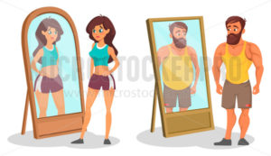 Fat and slim people with reflection in mirrors - Vector illustrations for everyone | Microstocker.Pro