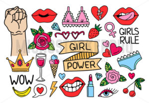 Feminism and girl power positivity collection - Vector illustrations for everyone | Microstocker.Pro