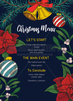 Festive christmas menu template with decorative elements - Vector illustrations for everyone   Microstocker.Pro
