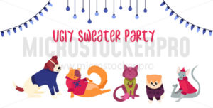 Festive cute template with cats and dogs poster - Vector illustrations for everyone | Microstocker.Pro