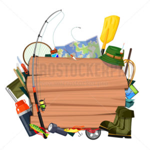 Fishing banner or flyer with different supplies - Vector illustrations for everyone | Microstocker.Pro