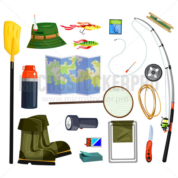 Fishing supplies set and essential equipment - Vector illustrations for everyone | Microstocker.Pro