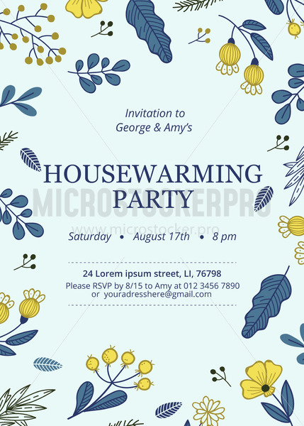 Floral housewarming party invitation template - Vector illustrations for everyone   Microstocker.Pro