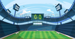 Football field with green grass and scoreboard - Vector illustrations for everyone | Microstocker.Pro